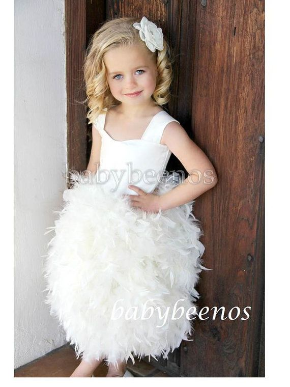 5e37e06765e Flower Girl Dress Flower girl dress feather Flower by babybeenos ...