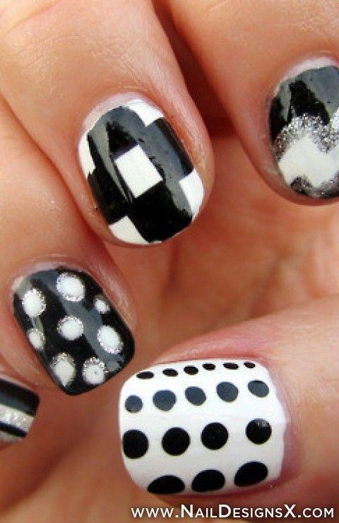 Mix Black White Nail Art Nail Designs Nail Art Nail Designs
