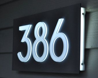 Custom Aluminum Acrylic LED House Numbers Sign 5 Tall Numbers