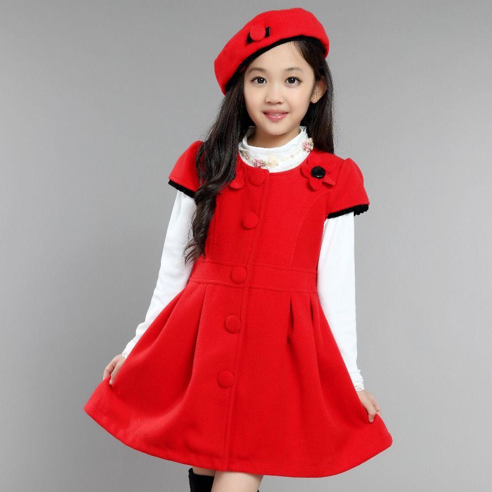 fall winter disfraz froze baby girl dress cute wool maone solid