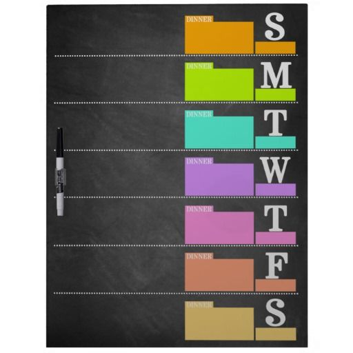 Colorful Chalkboard Weekly Planner Dry Erase White Board