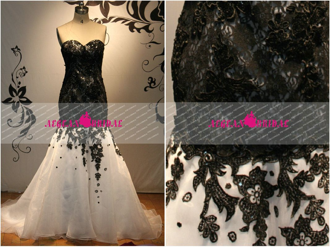 Black lace dress for summer wedding  RW Black And White Lace Wedding Dress Beads By Aegeanbridal