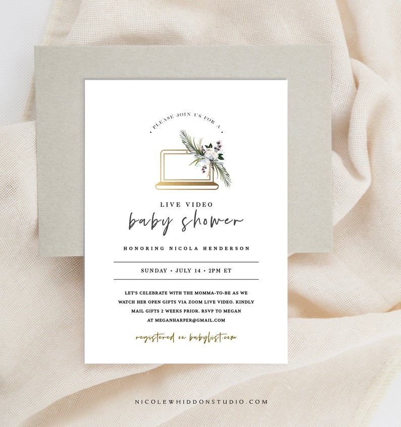 Virtual Baby Shower Invitation Template Digital Long Etsy Virtual Baby Shower Invitation Long Distance Baby Shower Invitations Virtual Baby Shower