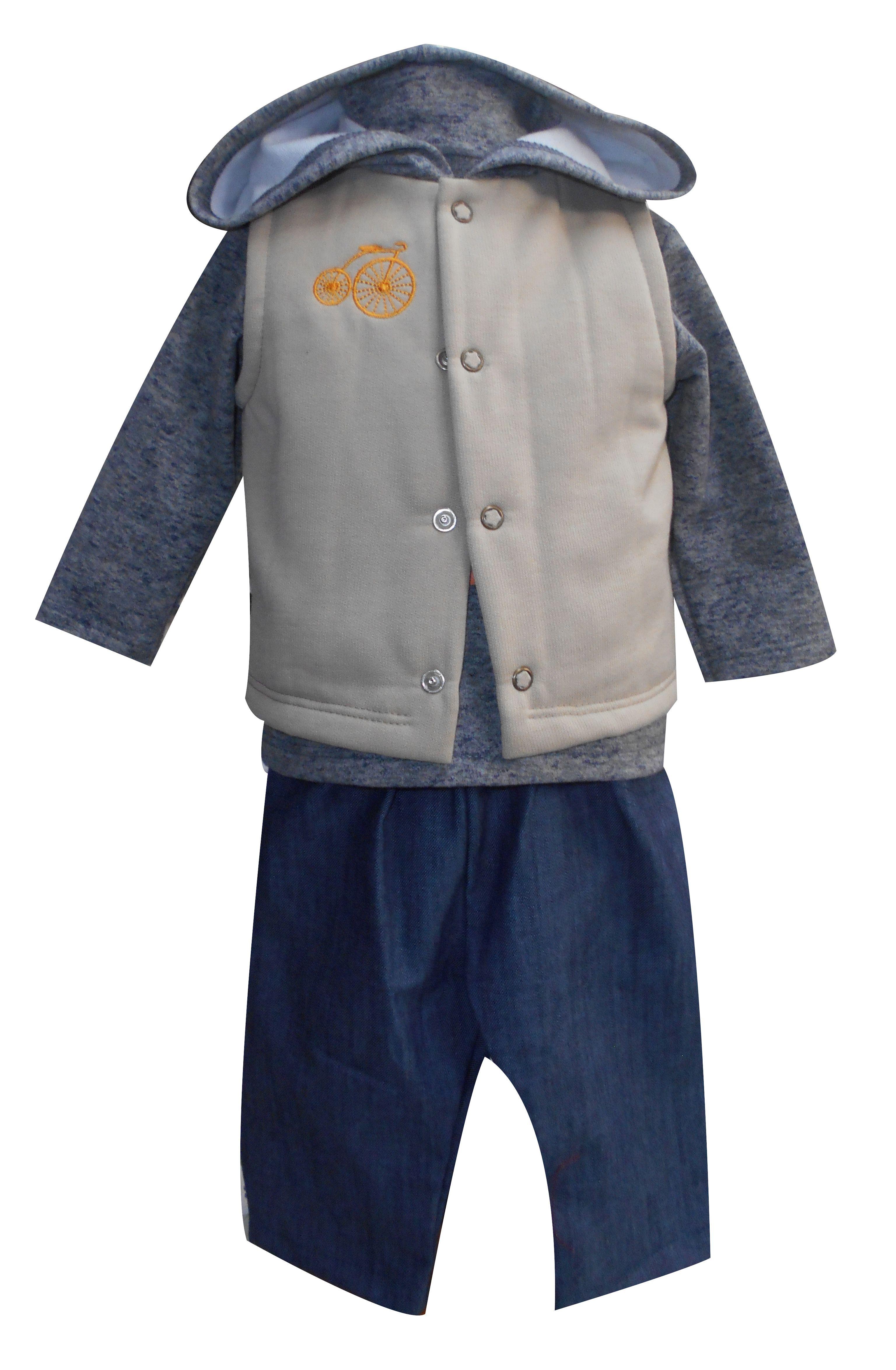 Chaleco con capucha y bordado, playera manga larga cuello alto y pantalón de mezclilla. Tallas 3, 6, 12 y 18 meses.