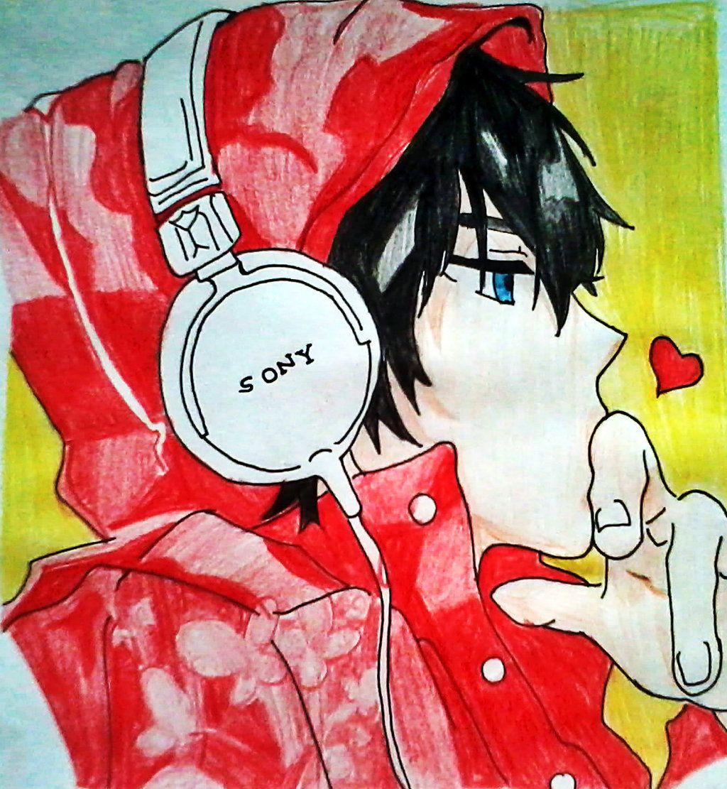 anime guy with headphones by otaku18princess on DeviantArt