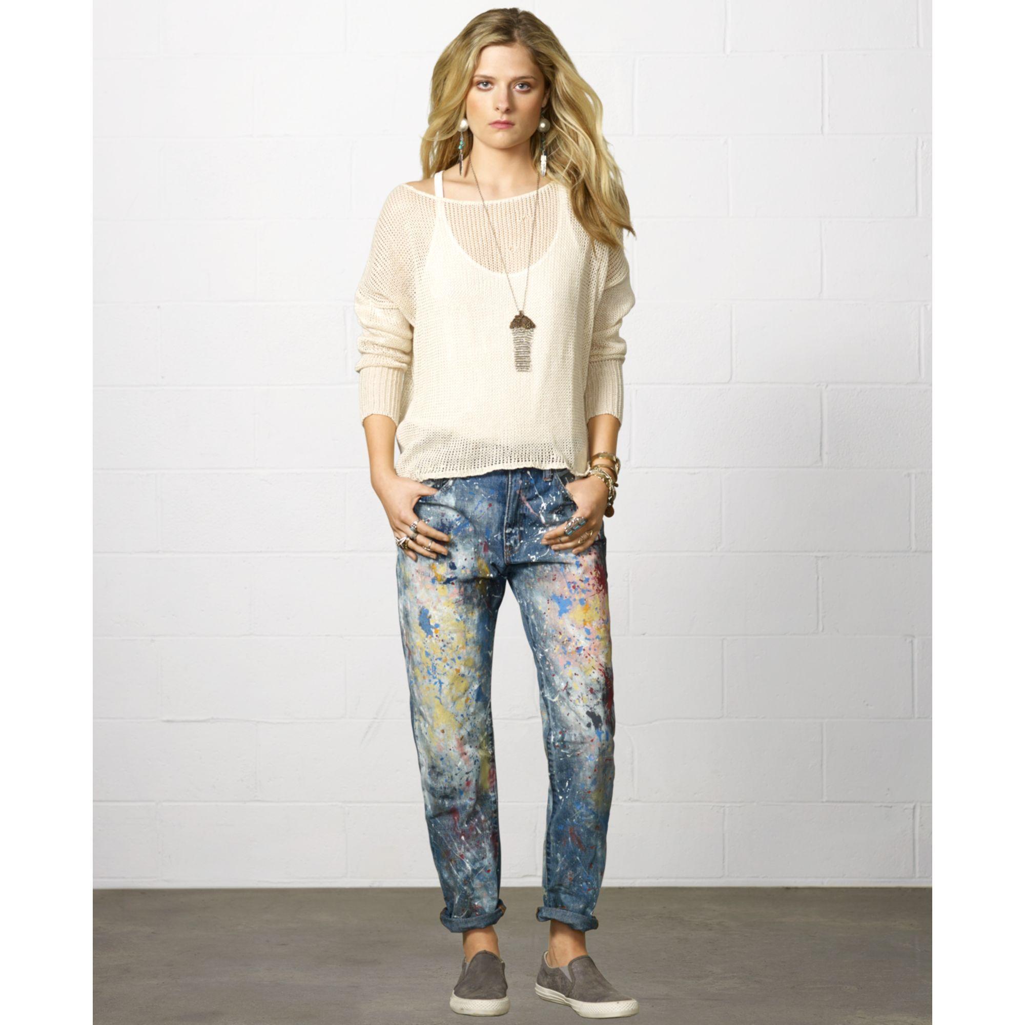 Denim & Supply Ralph Lauren Denim Supply Raph Lauren Paint Splatter Boyfriend  Jeans in Multicolor (