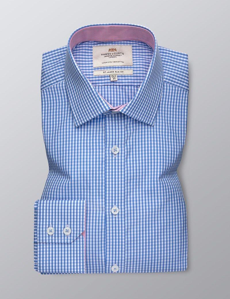 38ce369916 Men's Formal Blue & White Check Slim Fit Shirt - Single Cuff - Easy Iron