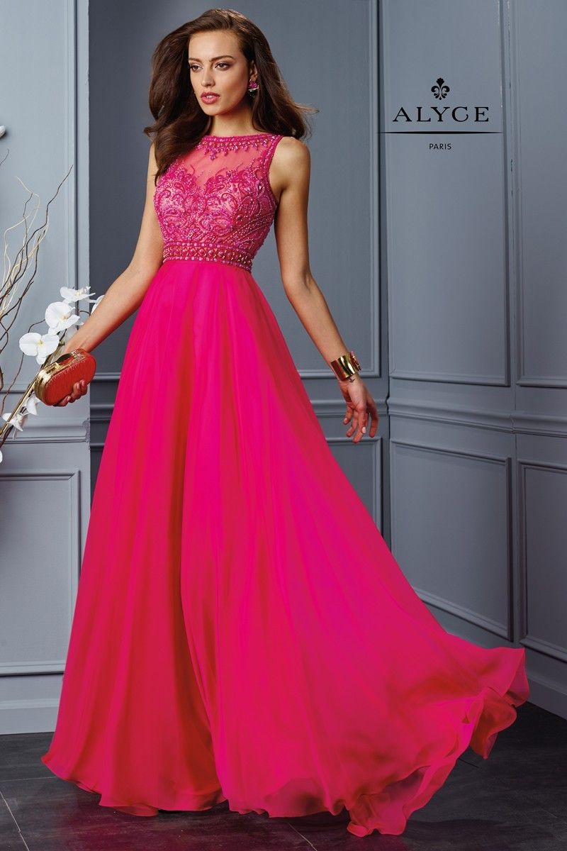 A sleeveless illusion top long gown with a silky chiffon aline