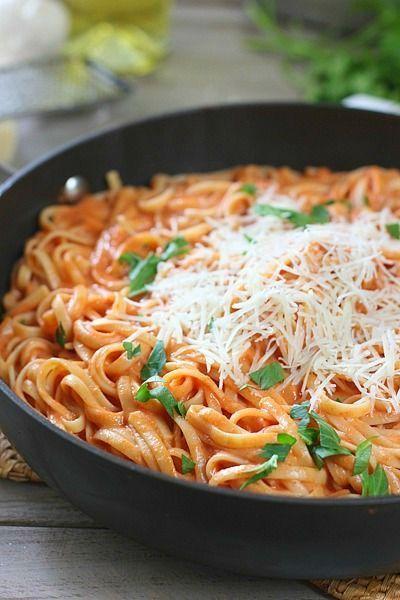 Pasta with Tomato Cream Sauce | Laughing Spatula