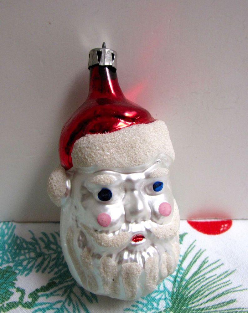 Vintage Glass Santa Head Ornament Germany Ornament Heavy Mica Figural Vgc Antique Christmas Ornaments Ornaments Glitter Ornaments