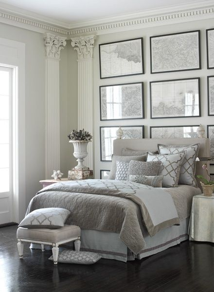 Luxe Grey And White Bedroom Frame Wall Decor Sophisticated Feminine Home Bedroom Bedroom Design Bedroom Frames
