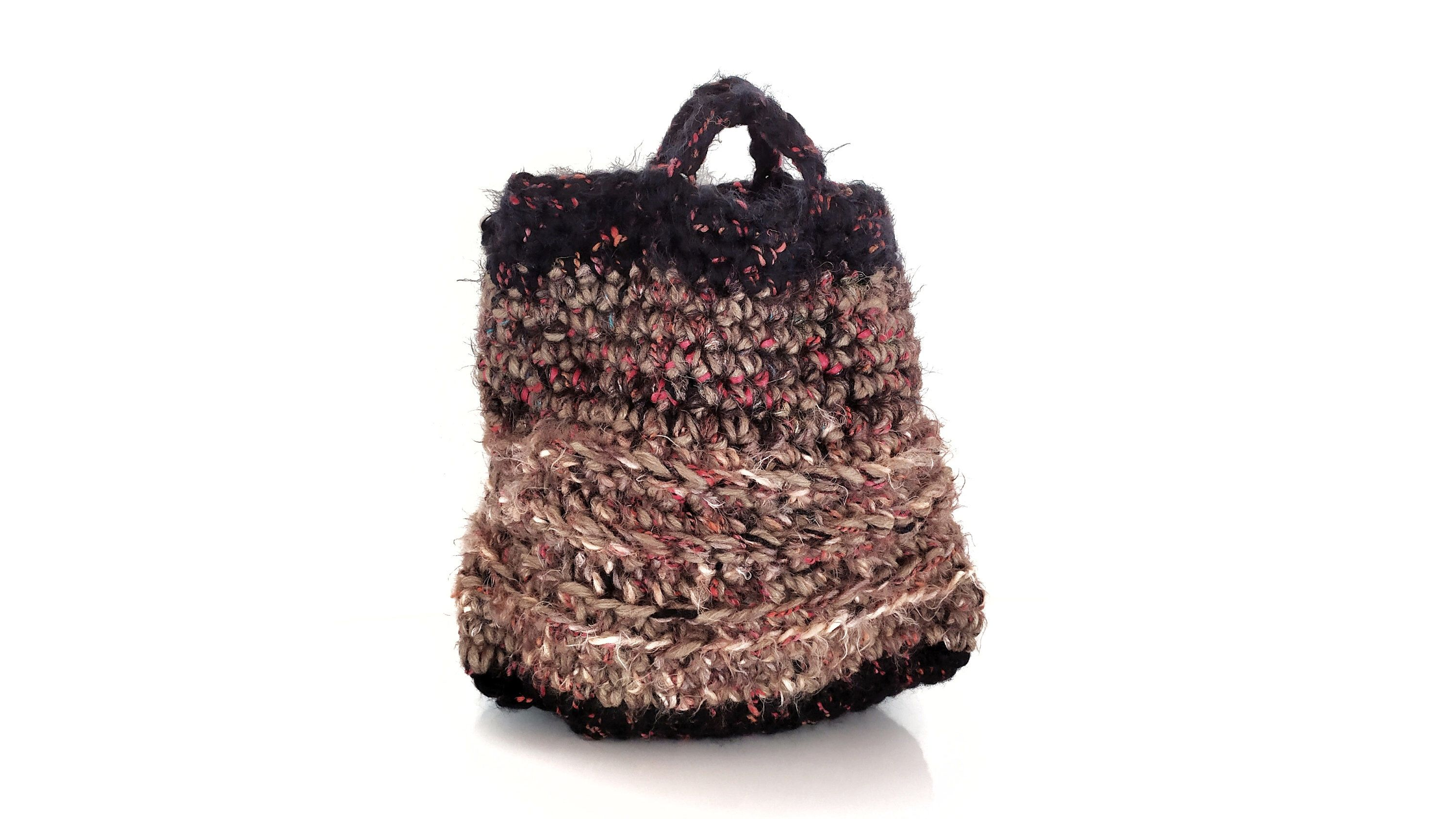 Photo of Crochet bag, bag, handmade bag, wool and furry recicled material – taupe and black
