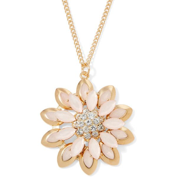 Mixit™ Pink Gold-Tone Flower Long Pendant Necklace (¥1,130) ❤ liked on Polyvore featuring jewelry, necklaces, blossom necklace, long layered necklaces, long necklaces, flower pendant necklace and long chain pendant necklace