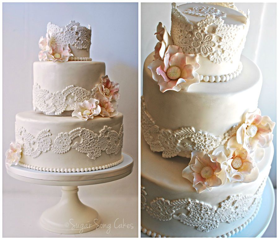 Cake With Fondant Lace : 4