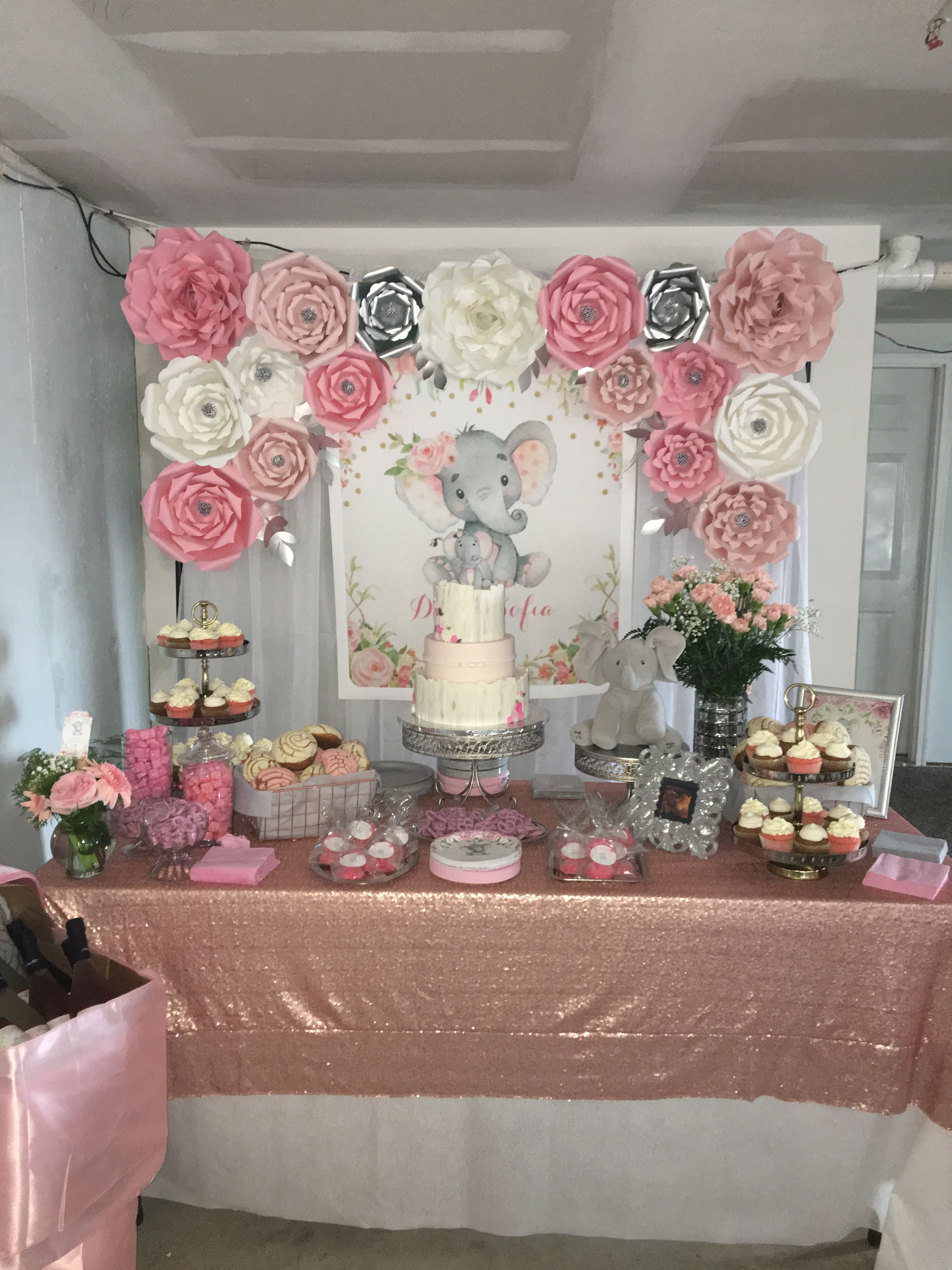 Elephant girl baby shower