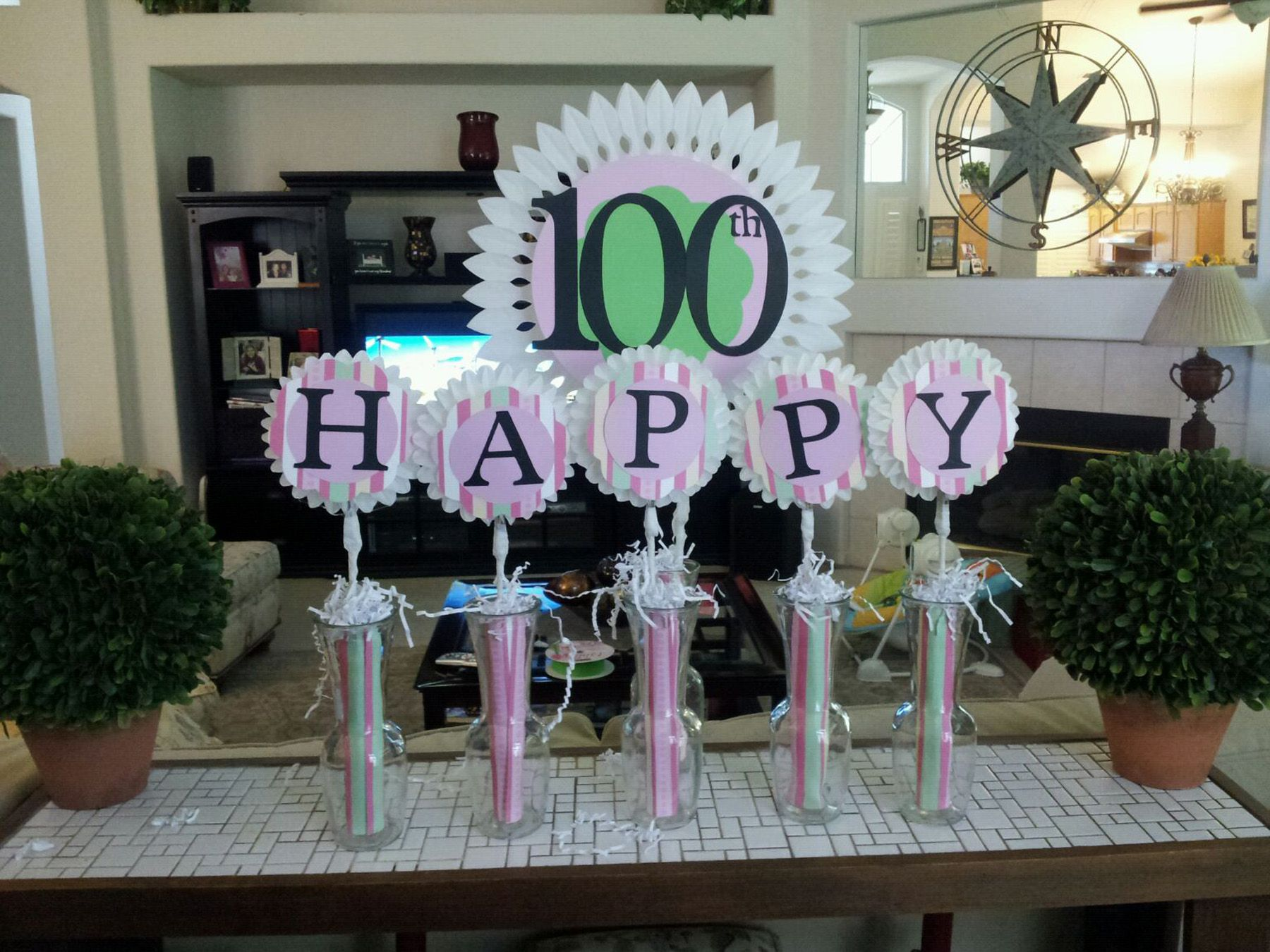 Cake Table Decoration For Grandma Esthers 100th Birthday Celebration