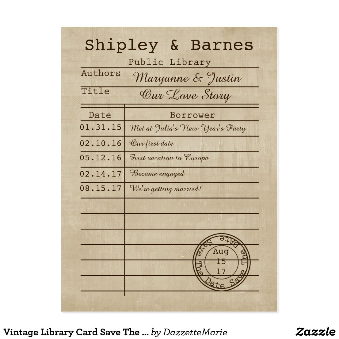 Vintage Library Card Save The Date Zazzle Com Library Card Vintage Library Invitation Template