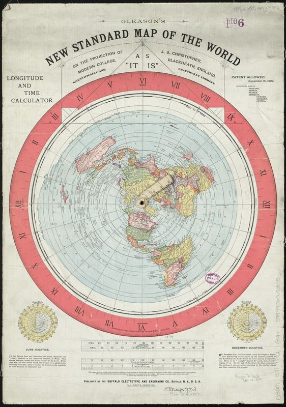 Gleasons new standard map of the world 1892 map of the globe gleasons new standard map of the world 1892 map of the globe stretched and flattened into a circular plane includes longitude and time calculator and gumiabroncs Image collections