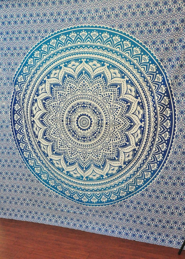 Blue Ombre Tapestry Mandala Tapestry Hippie Wall Hanging Mandala Tapestry Tapestry Mandala Wall Hanging