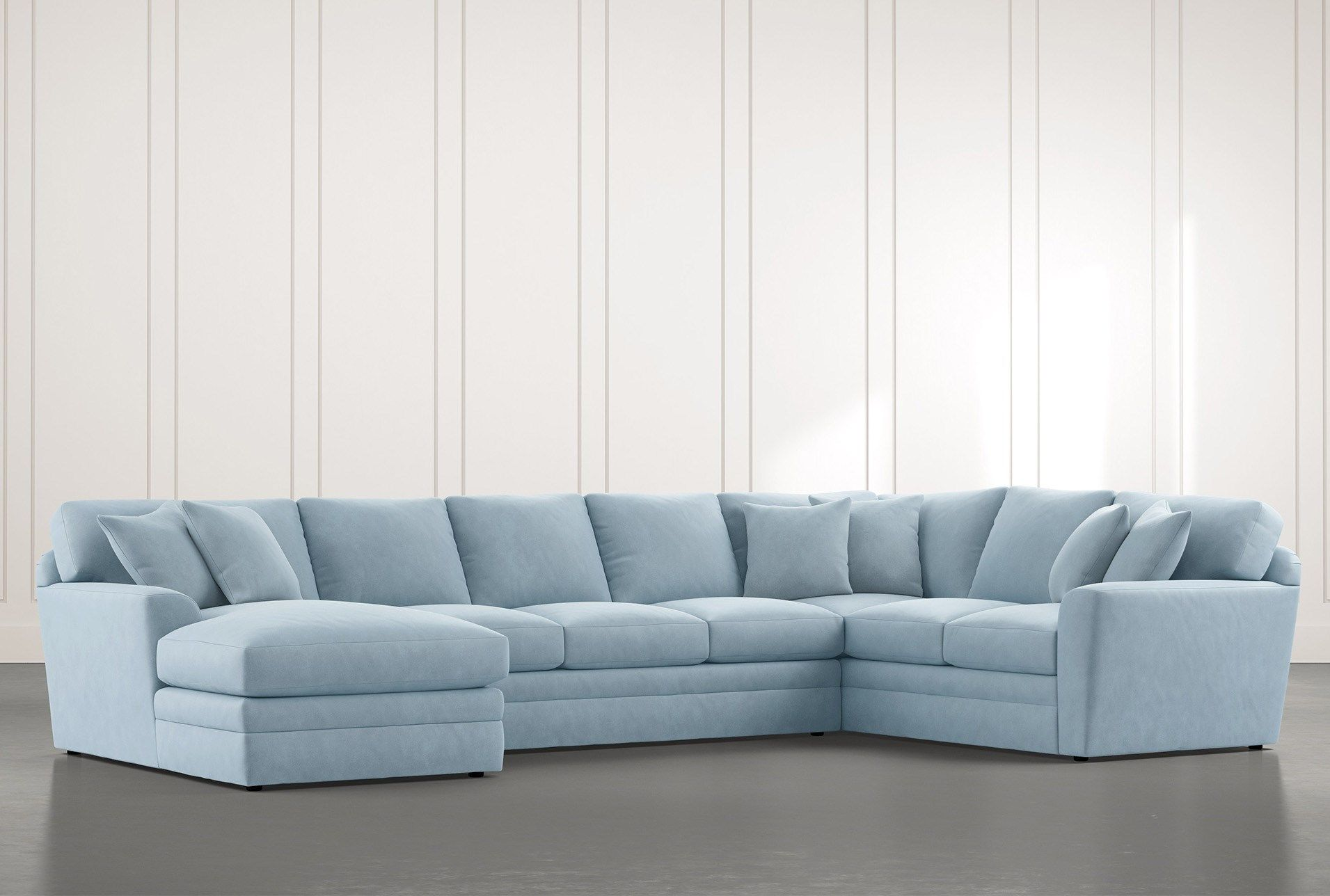 Prestige Down Light Blue 3 Piece Sectional With Left Arm Facing