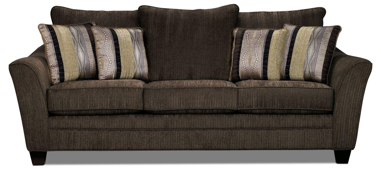 Allen Sofa Chocolate The Brick Queen Size Bed Living Room