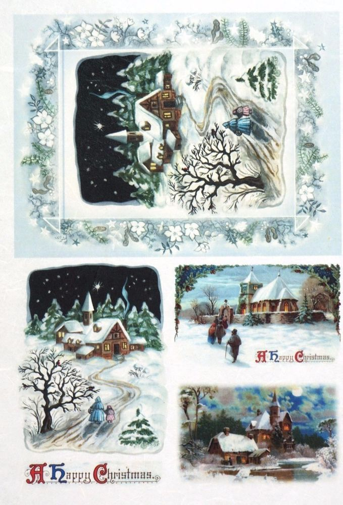 Rice Paper for Decoupage Decopatch Scrapbook Craft Sheet Vintage Winter Photos