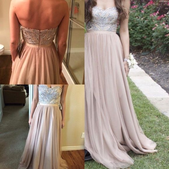 Designer prom dress! Beautiful princes gown, light colors. I can ...