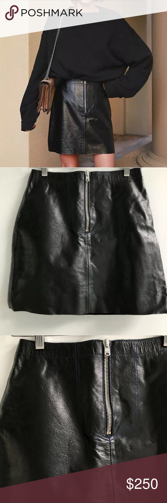 25ccafeba4 NWT Sandro Ray leather skirt size 1 Sandro Ray leather skirt, Sandro size  1, equivalent to a small, new with tags, about 18' long Sandro Skirts Mini