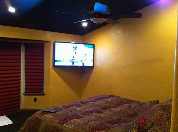 Surround Sound System In A Master Bedroom With Painted Speakers In The  Ceiling That You Cant