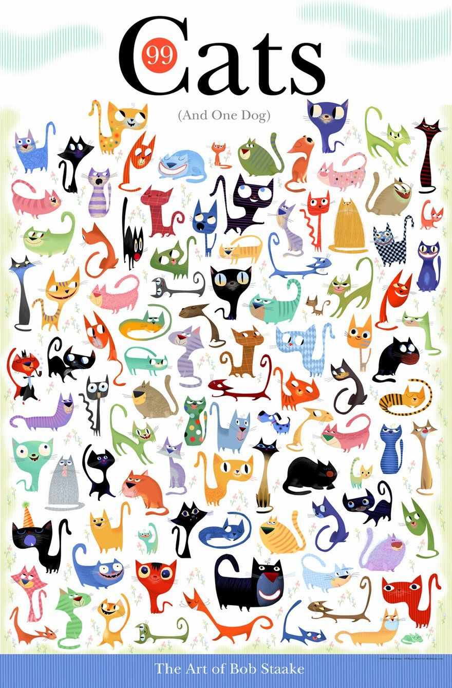 Poster design 99 - 99 Cats One Dog By Bob Staake