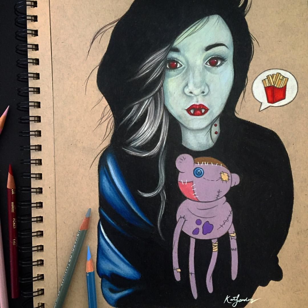 "Kat on Instagram: ""Daddy why did you eat my fries ? ❤️ day 4 of drawlloween = vampires #marcy#drawlloween#cartoonnetwork#adventuretime#vampire#marceline#thevampirequeen"""