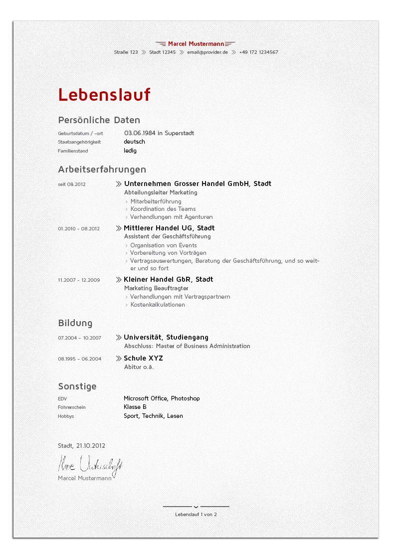 Bewerbungsdesign - Die Führungskraft (Lebenslauf) | Schriftliches ...