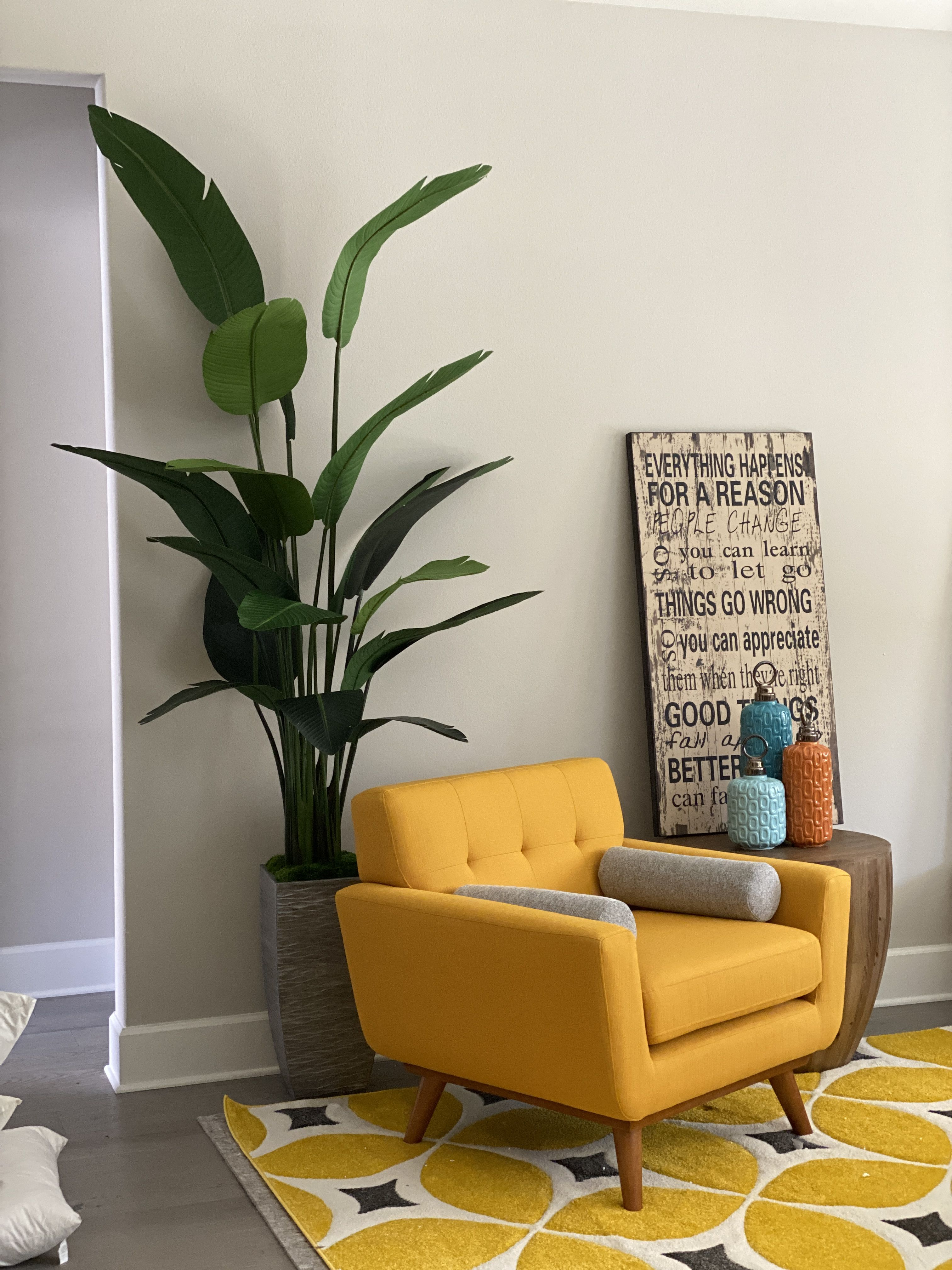 8ft Artificial Bird Of Paradise Palm Tree In 2020 Palm Tree Decor Living Room Living Room Decor Palm Tree Decorations #palm #tree #decor #for #living #room