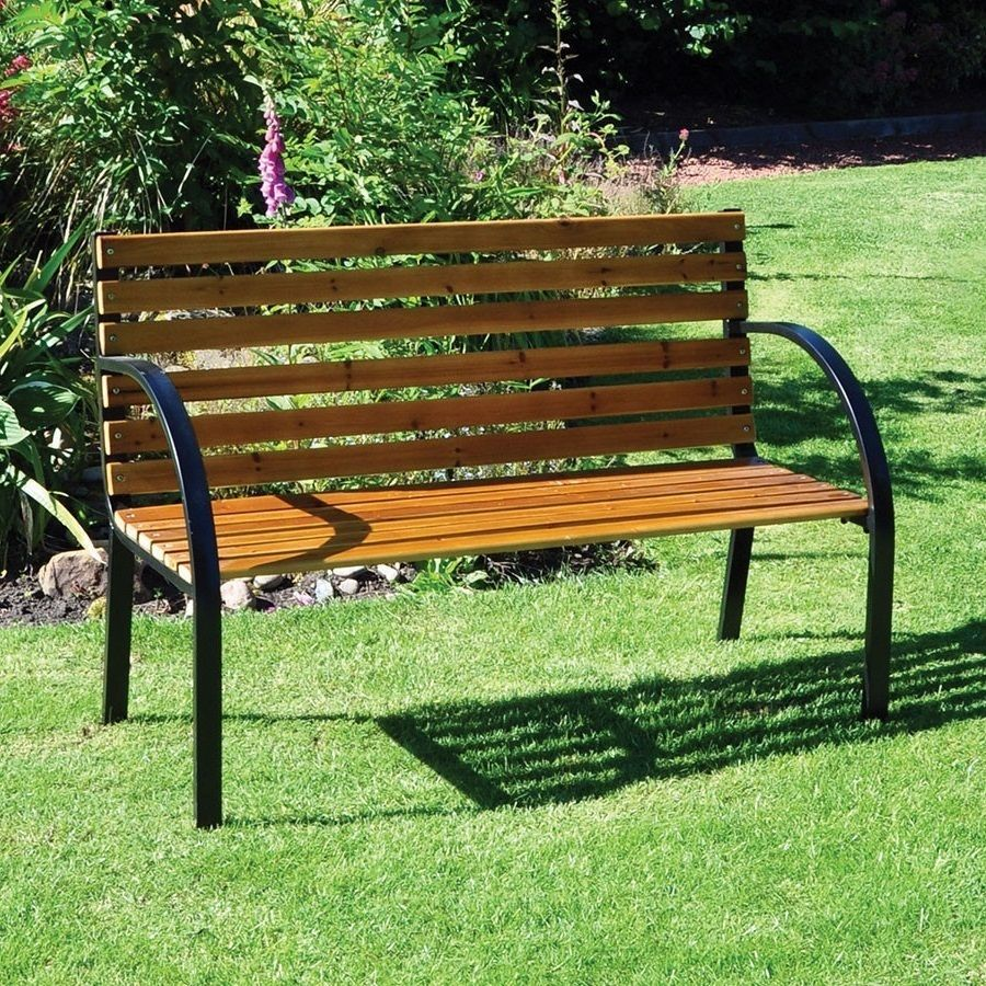Garden Furniture Bench Patio Hardwood Seat Steel Frame 2 Seater Yard  Backyard