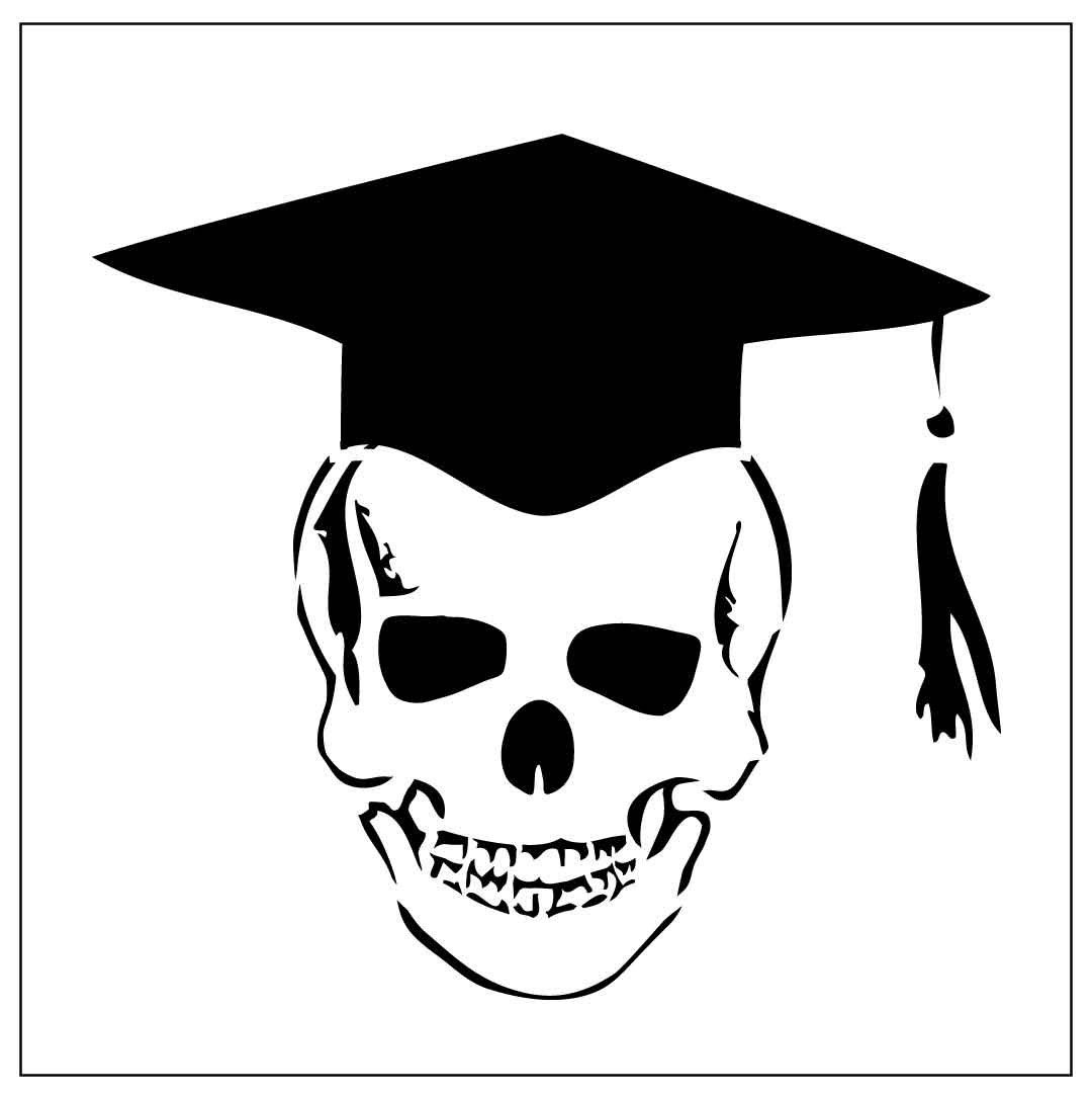 Skull With Graduation Cap Instant Download For Transfer By