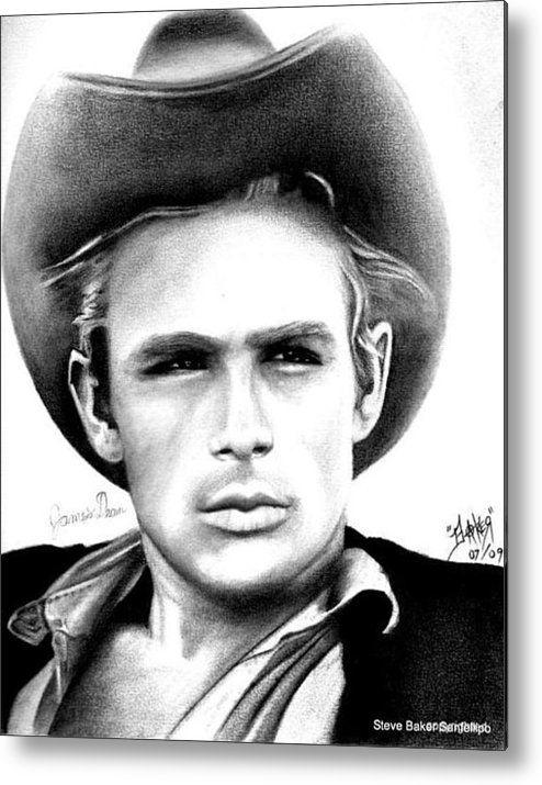 james dean metal print by celebrity portrait art by steve baker