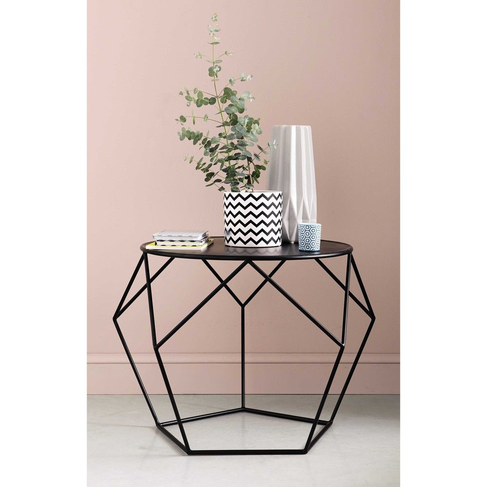 Table Basse Ronde En M Tal Noire Tables Basses Rondes Table  # Table Basse Ronde Hippie