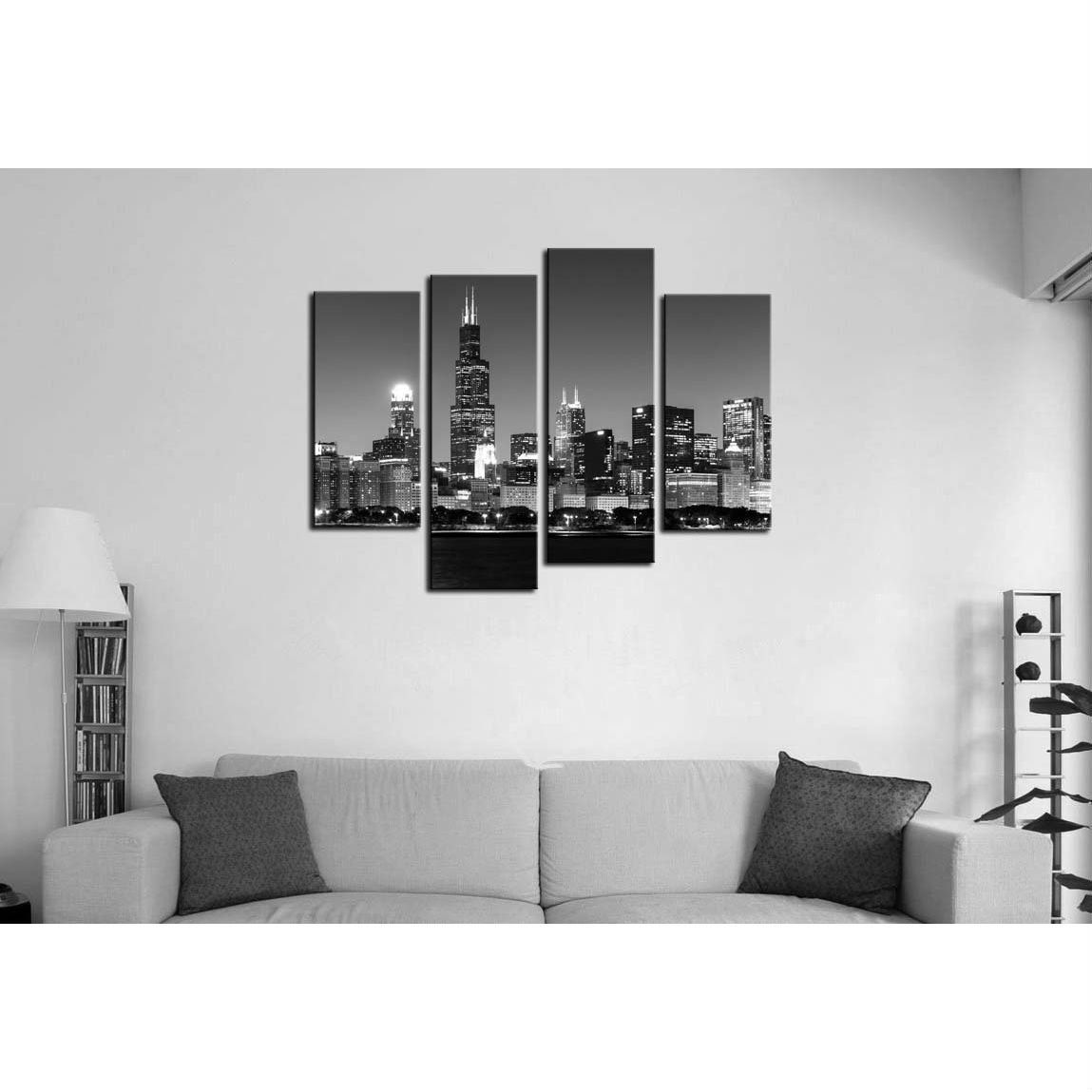 Chicago night skyline black white print panel canvas wall art