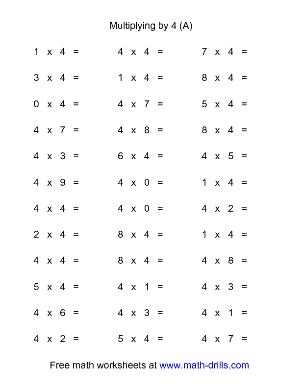 Multiplication Worksheet 36 Horizontal Multiplication Facts