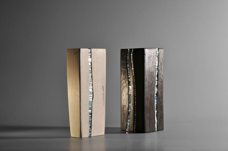 sculpture bois et verre