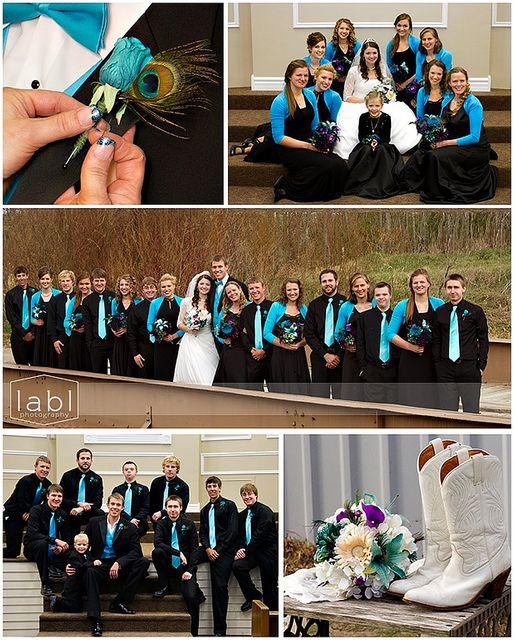 Peacock Wedding Wedding Colors Large Bridal Parties Wedding