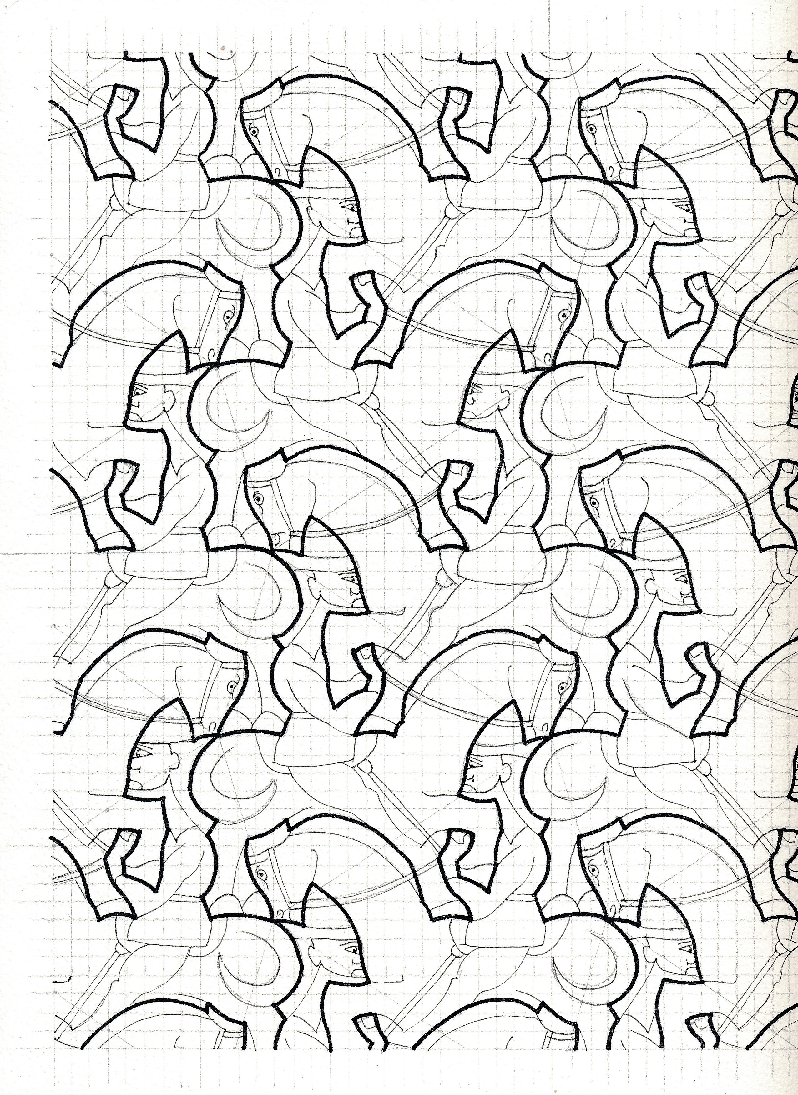 Bird Fish Tessellation by M.C. Escher coloring page from ...