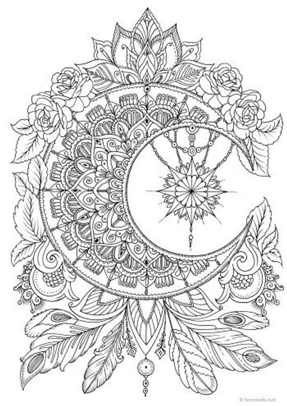 Moon - Printable Adult Coloring Page from Favoreads (Coloring book pages for adults and kids, Coloring sheets, Colouring designs)