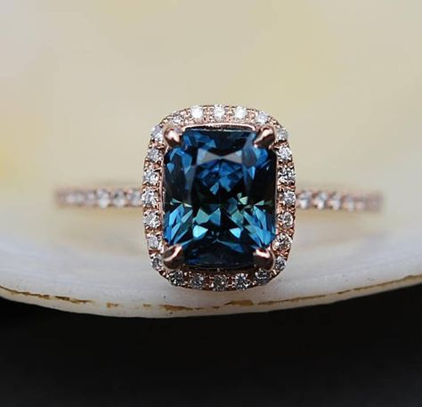 Peacock sapphire engagement ring. 3.56ct emerald cut blue green sapphire ring diamond ring 14k Rose gold ring