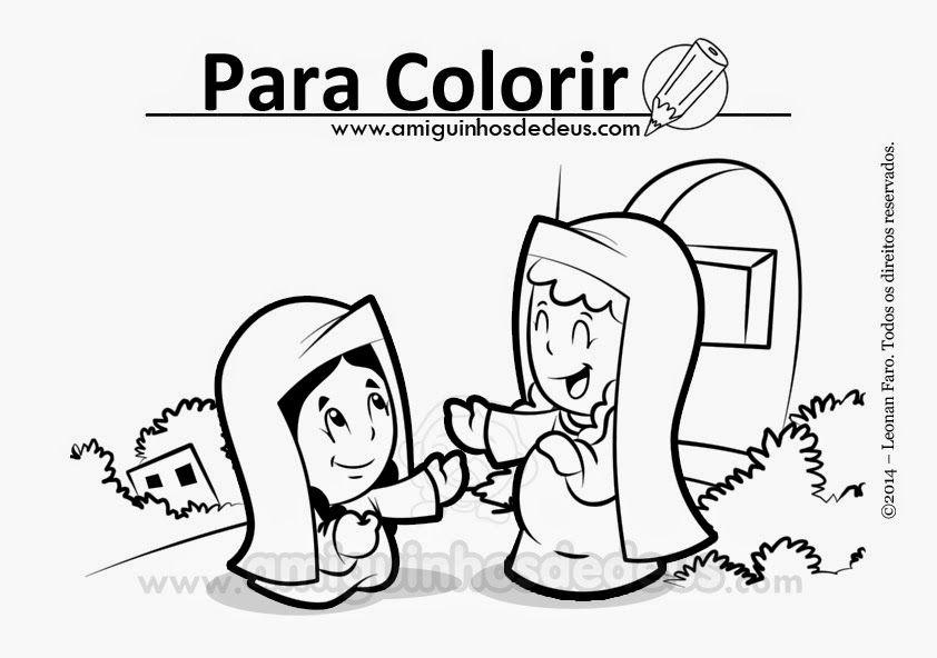 Evangelho para colorir: Maria visita Isabel - Lc 1,39-56 | Jesus ...