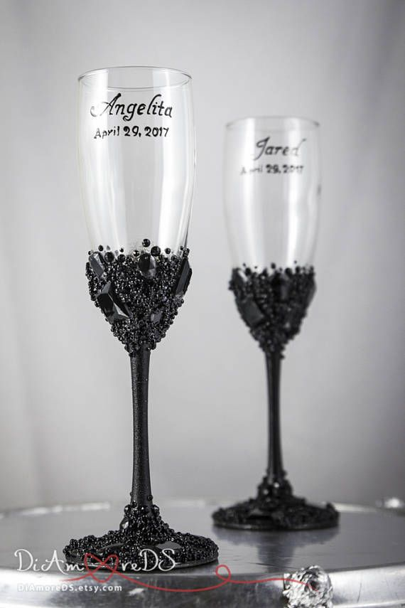 Toasting Flutes Black Wedding Toast Glasses Set Are Available In Many Styles