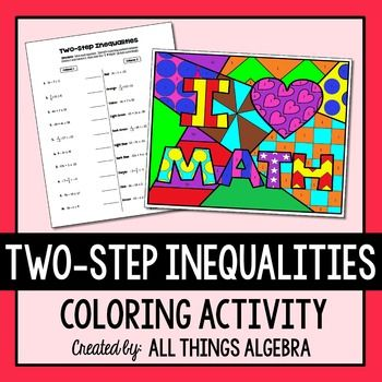 TwoStep Inequalities Coloring Activity Math • Middle