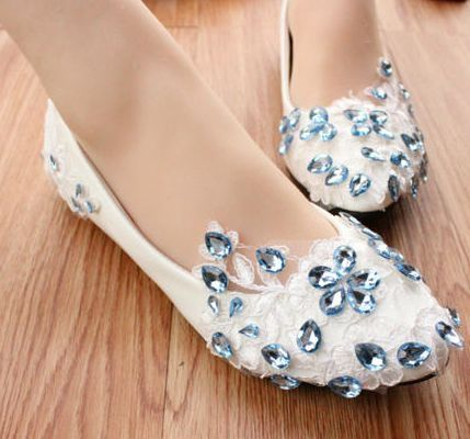 Wedding Shoes For Women Light Ivory Milk White Lace Bridal Flats Blue Rhinestone