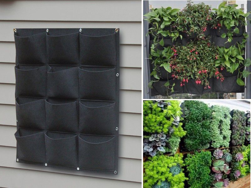 12 pocket outdoor vertical living wall planter pet