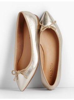 Mira Ballet Flats-Metallic Leather